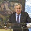 यूएन महासचिव एंतोनियो गुटेरेश मॉस्को में एक प्रेस वार्ता को सम्बोधित करते हुए.