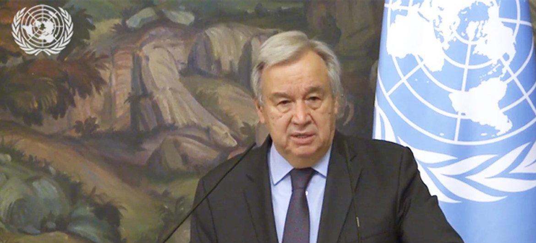 El Secretario General de la ONU, Antonio Guterres, en una conferencia de prensa en Moscú tras un encuentro con el ministro de Asuntos exteriores, Sergey Lavrov