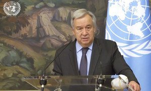 UN Secretary-General António Guterres speaking at a press conference in Moscow after talks with Russian Foreign Minister Sergey Lavrov.