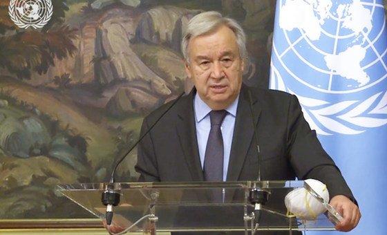 Генеральный секретарь ООН Антониу Гутерриш на пресс-конференции после переговоров министром иностранных дел РФ Сергеем Лавровым в Москве.