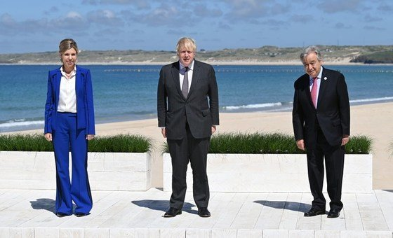 British Prime Minister Boris Johnson and his wife Carrie Johnson greet United Nations Secretary-General Antonio Guterres upon his arrival at the G7 summit in Cornwall, UK.