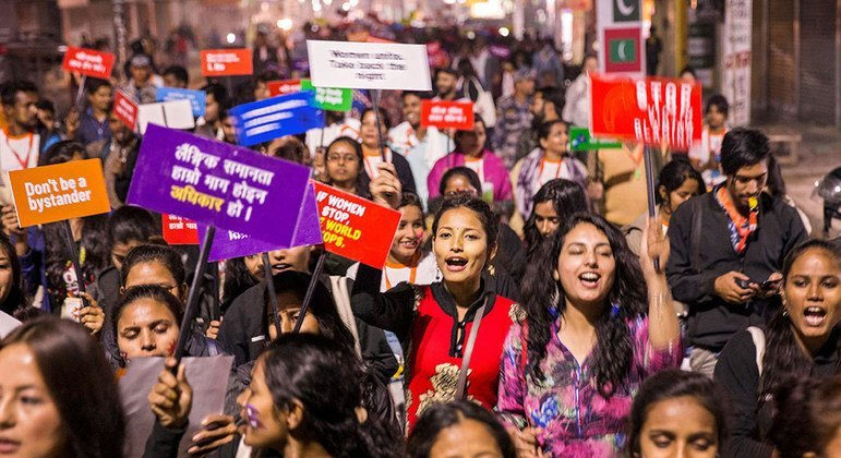 Young people protest for gender equality and women's rights in Nepal.