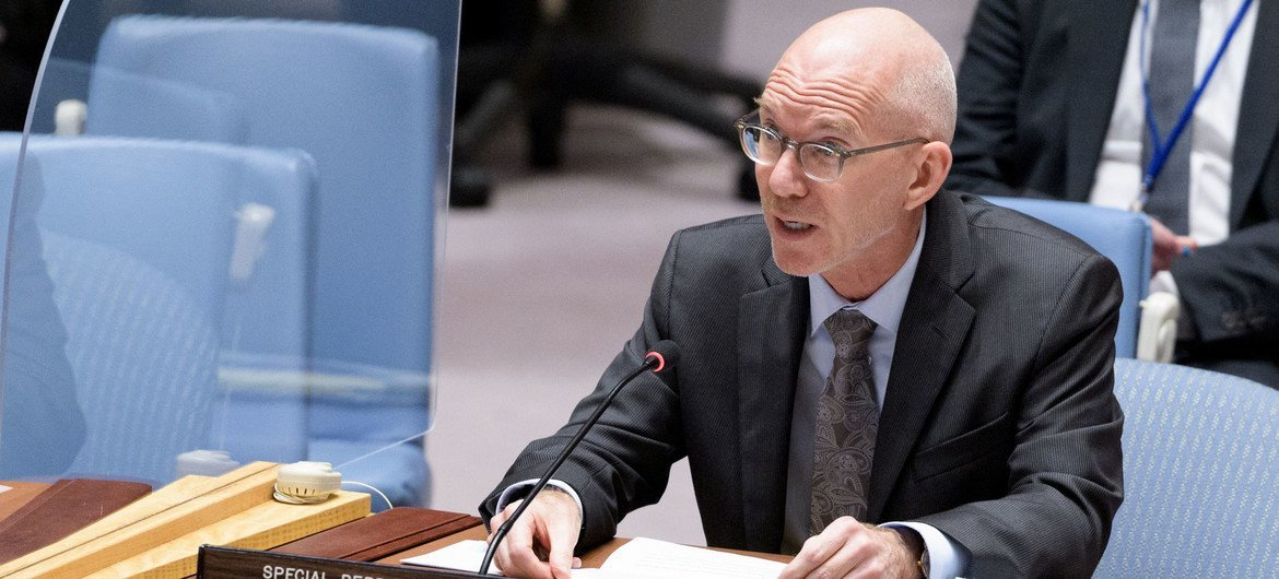 James Swan, Special Representative of the Secretary-General and Head of the UN Assistance Mission successful  Somalia, briefs the Security Council members connected  the concern    successful  the country.