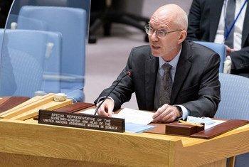 James Swan, chef de la Mission d'assistance des Nations Unies en Somalie, devant le Conseil de sécurité.