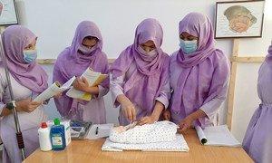 Midwifery students in Kandahar, Afghanistan, learn critical life-saving skills.