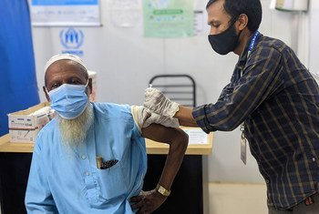 A Rohingya refugee is vaccinated against COVID-19 in Bangladesh. Low-income countries have only vaccinated around two per cent of their populations