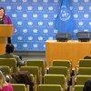 الزميلة ريم أباظة المتحدثة باسم رئيس الجمعية العامة في أحد المؤتمرات الصحفية