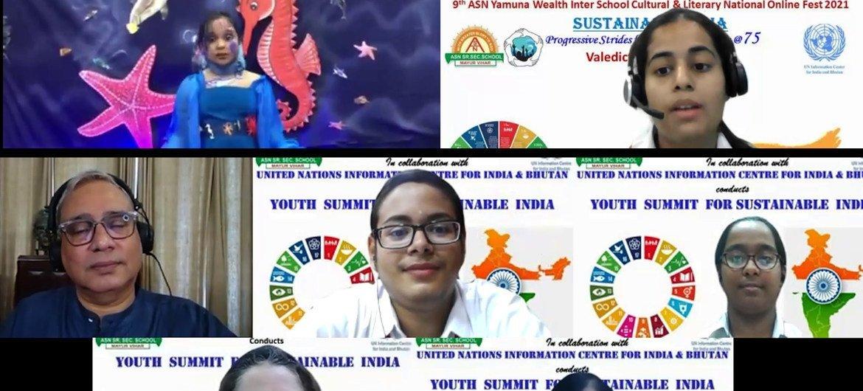 भारत और भूटान के लिये संयुक्त राष्ट्र सूचना केन्द्र (यूएनआईसी) के सहयोग से, नई दिल्ली के एएसएन स्कूल ने 'टिकाऊ भारत' पर, दो दिवसीय वर्चुअल राष्ट्रीय युवा-शिखर सम्मेलन आयोजित किया.