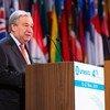 联合国秘书长安东尼奥·古特雷斯在法国巴黎教科文组织第40届大会上发表讲话。