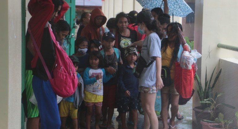 Children and families taking shelter at a school in Legazpi City, Albay province, Philippines, as Typhoon Vamco (known locally as Ulysses) made landfall. The province was hit hard by Typhoon Goni (known locally as Rolly) a week prior.