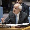 رياض منصور، المراقب الدائم لدولة فلسطين لدى الأمم المتحدة، يخاطب اجتماع مجلس الأمن حول الوضع في الشرق الأوسط، بما في ذلك القضية الفلسطينية.
