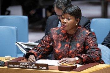 فاتو بنسودا، المدعية العامة للمحكمة الجنائية الدولية، تقدم تقريرها الثلاثين عن الوضع في دارفور خلال جلسة لمجلس الأمن حول السودان وجنوب السودان. 18 ديسمبر 2019
