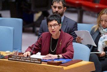 أورسولا مولر، مساعدة الأمين العام للشؤون الإنسانية ونائبة منسق الإغاثة في حالات الطوارئ، خلال إحاطة قدمتها إلى مجلس الأمن بشأن الوضع الإنساني في سوريا 19 ديسمبر/ كانون الأول 2019.