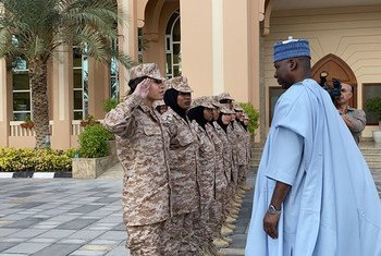 UN General Assembly President Tijjani Muhammad-Bande meets cadets participating in a military and peacekeeping training programme at Khawla bint Al Azwar Military Academy for Women in Abu Dhabi.