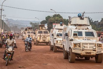 Formed Police Units of MINUSCA patrolling Bangui, capital of CAR and its surroundings to strengthen security and reassure the population, 18 December 2020.