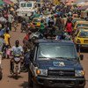 A busy market scene in the Central African Republic.