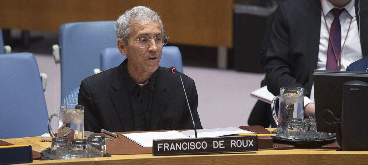 Francisco de Roux, president for the Commission for the Clarification of Truth, Coexistence and Non-repetition, addresses the UN Security Council meeting on Peacebuilding and Sustaining Peace.