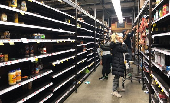 The shelves of many supermarkets in New York City are bare as people prepare to stay at home to avoid the coronavirus.