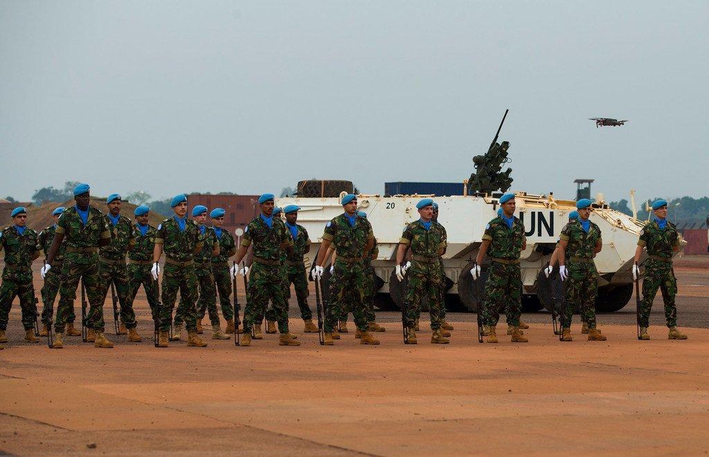 葡萄牙籍的联合国维持和平人员在中非共和国首都班吉。