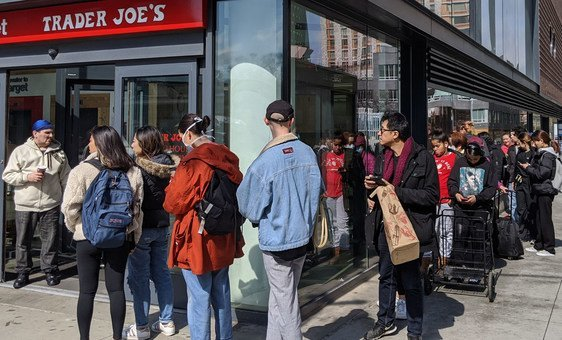 To protect against the COVID-19 pandemic, many New Yorkers are buying food in preparation to self-isolate, and in some cases, forming lines that wrap around the block.