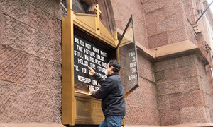 The Fifth Avenue Presbyterian Church in Manhattan  displays a message of hope as the coronavirus continues to kill people in New York City.