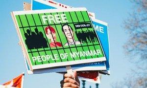 Protestors calling for democracy in Myanmar.