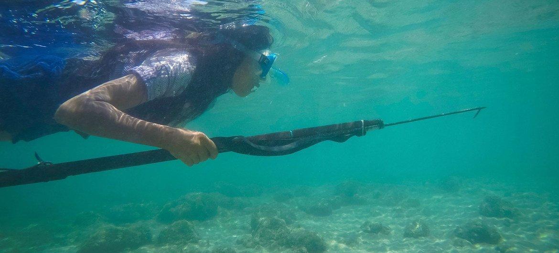 东帝汶的一位年轻女孩在海洋中捕鱼。