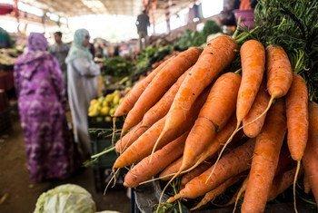 Zanahorias en un mercado de Marruecos.