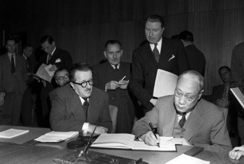 Seventeen UN Member States met in November 1947 to sign protocols to amend the Geneva Conventions of 1921, 1923, and 1933.