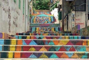 Разноцветная лестница в старом районе Бейрута Мар-Михаэль