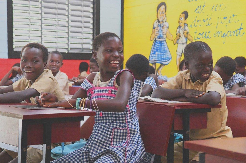 Watoto darasani Sakassou, Côte d'Ivoire.(8 Julai 2019)