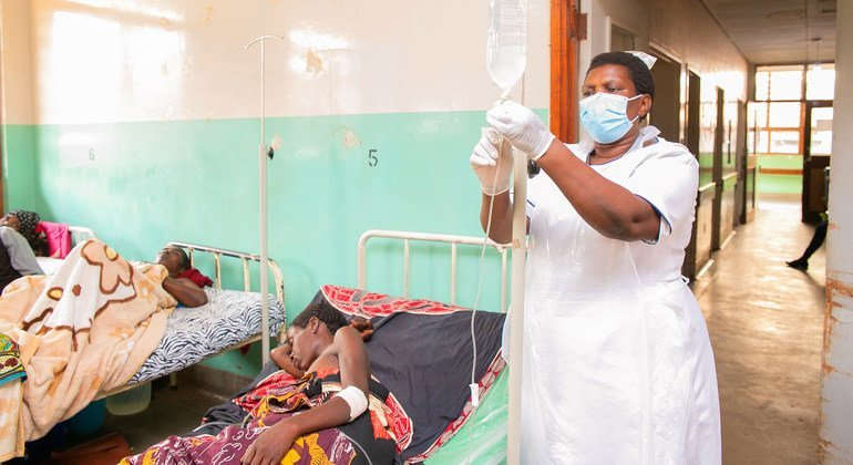 A nurse who recovered from COVID-19 is back at work helping patients at a hospital in Malawi.