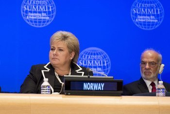 挪威首相埃尔娜·索尔贝格(Erna Solberg)出席反对暴力极端主义领导人峰会