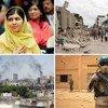 De gauche à droite : Malala Yousafzai au siège des Nations Unies. Les rues de Port-au-Prince après le tremblement de terre de 2010 en Haïti. Un casque bleu en patrouille à Kidal, au Mali. De la fumée dans le ciel après des bombardements à Homs, en Syrie.