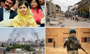 From left: Malala Yousafzai attends an education event at UN Headquarters; People walk along Port-au-Prince streets following the 2010 earthquake in Haiti; UN peacekeeper on patrol in Kidal, Mali; Smoke drifts into the sky from buildings and houses hit by shelling in Homs, Syria.