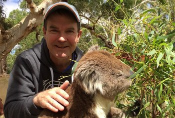 John Scanlon and a koala, in South Australia.