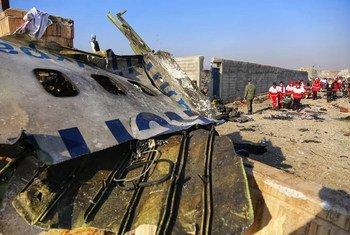 """Представители """"Красного полумесяца"""" Ирана и других гуманитарных организаций работают на месте крушения украинского """"Боинга"""" под Тегераном."""