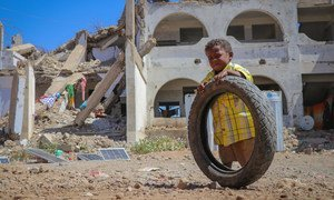 An internally displaced child plays in an IDP site in Al-Dhale'e Governorate.