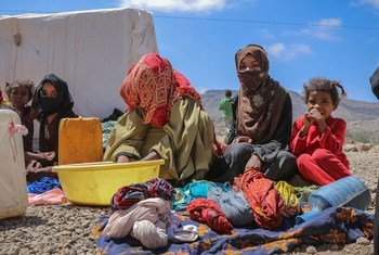 A family in the Al Dhale'e camp for people displaced by the conflict in Yemen.
