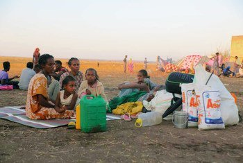 Ethiopian refugees fleeing clashes in the country's northern Tigray region cross the border into Hamdayet, Sudan.