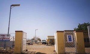 A solar streetlight in the Um Rakuba refugee camp, Sudan