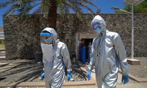 Doctors at a quaratine centre in Aden, Yemen, have received PPE supplies from UNICEF.