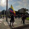 People protesting during the national strike in Colombia 2021.