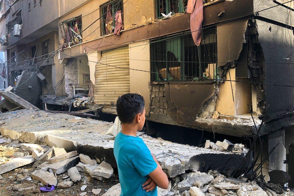 منازل مدمرة بسبب أعمال القصف على غزة واستمرار الأغمال العدائية بين الإسرائيليين والفلسطينيين