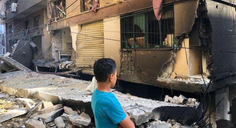 Casas dañadas en Gaza por los bombardeos israelíes