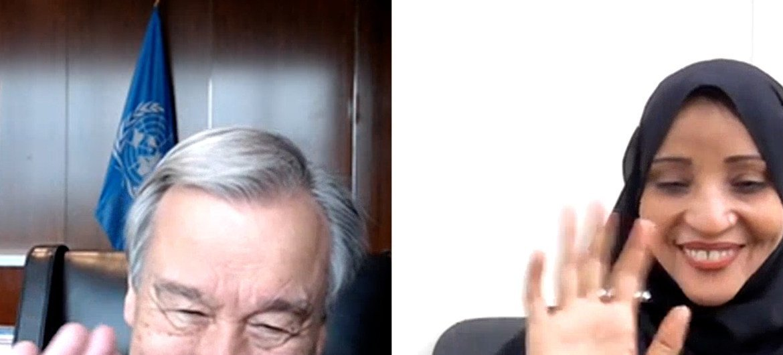 यूएन महासचिव की यमन कार्यकर्ता के साथ बातचीत.
