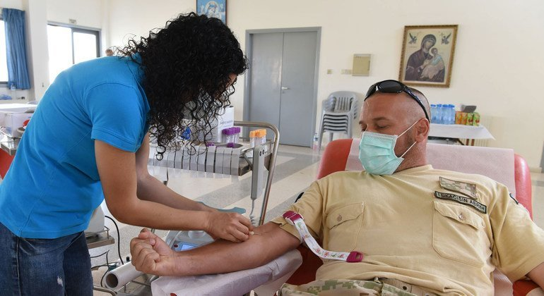 Slovak peacekeepers serving with UNFICYP participate in a blood donation drive to supply Greek Cypriot and Turkish Cypriot health facilities to support both communities on the island.