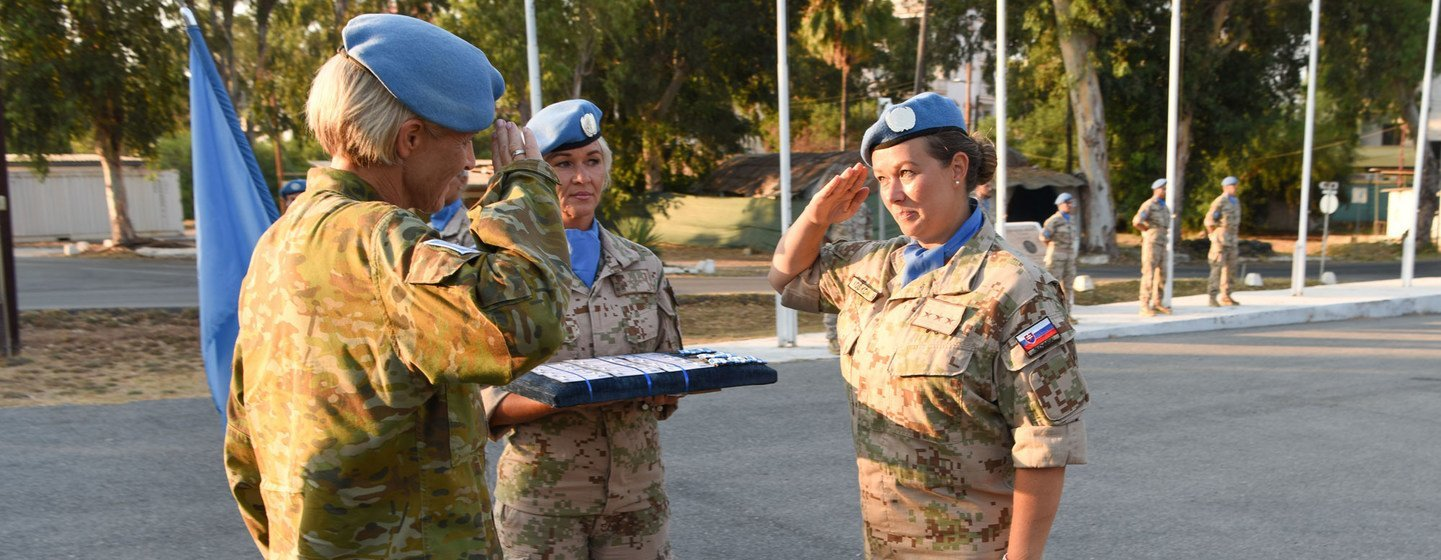 Female Slovakian peacekeepers being awarded for their contributions during a medal parade ceremony to the UN Peacekeeping Force in Cyprus (UNFICYP).