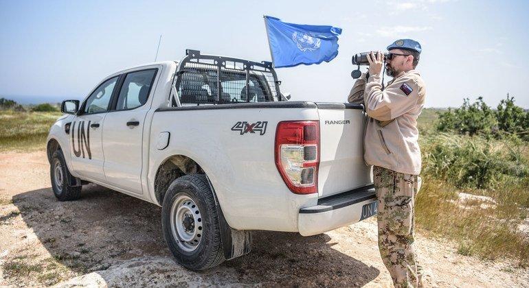 Slovak peacekeepers on patrol of the UN buffer zone in Cyprus.