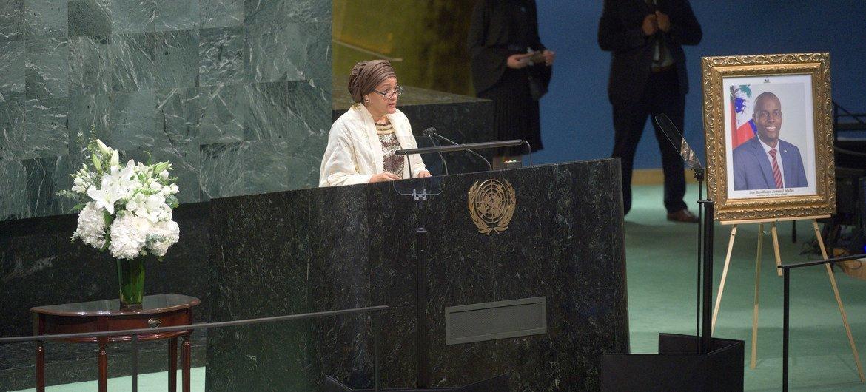 联合国常务副秘书长阿米娜·默罕默德出席了联合国大会悼念海地总统莫伊兹的会议。